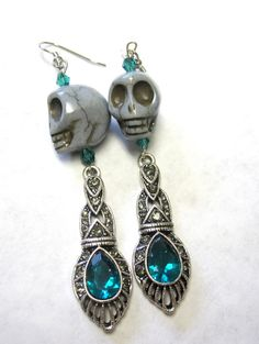 Avant Garde Day of the Dead Earrings Art Deco by sweetie2sweetie, $14.99