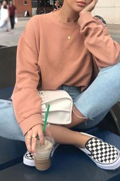 Fashion casual woman with light jeans, nude sweater and vans slip on - . Fashion casual woman with light jeans, nude sweater and vans slip on - - Teen Fashion Outfits, Mode Outfits, Fashion Models, Vans Fashion, Skater Outfits, Scene Outfits, Emo Fashion, School Outfits, Outfit Hombre Casual