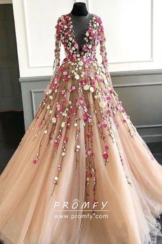 c5e50f63df74 Exquisite red and daffodil 3D flowers decorated long sleeve and plunging  neckline champagne tulle floor length