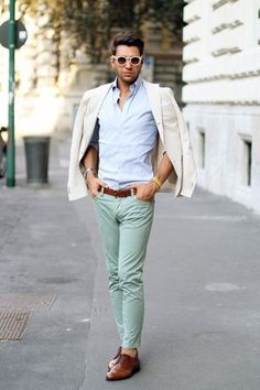 Men's Mint Chinos, Brown Leather Belt, Light Blue Longsleeve Shirt, Beige Blazer, and Brown Leather Derby Shoes