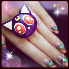 Luna & Artemis Inspired Ring/Sailor Moon/Sailor Venus. $10.00, via Etsy.