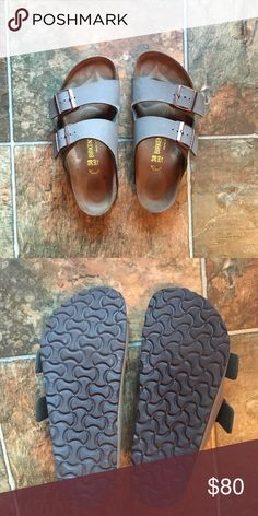 New Birkenstock Arizona in Stone Arizona Birkenstocks in stone grey color. I purchased these online and only wore them around the house. Selling on here because I would have had to pay return shipping to Germany to send back. They are in perfect condition! Birkenstock Shoes Sandals