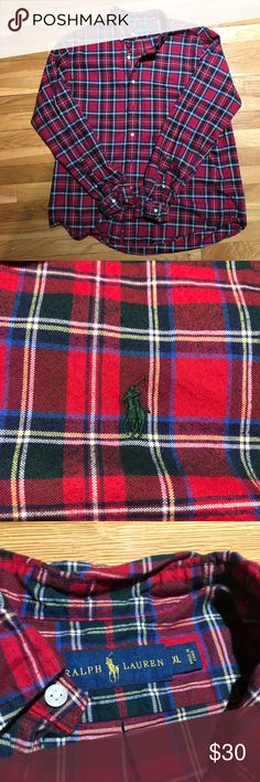 Polo Ralph Lauren Long Sleeve Shirt Red long sleeve button down shirt with multi-color stripes.  Subtle green polo logo on chest.  EUC, worm only a few times. Polo by Ralph Lauren Shirts Dress Shirts
