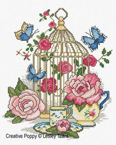 <b>Beautiful Bird Cage</b><br>cross stitch pattern<br>by <b>Lesley Teare Designs</b>