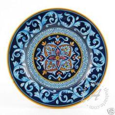 Set of 4 Handmade Geometric Dinner Plates Deruta, Italy