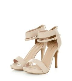 Nude Ankle Strap Gold Finish Heels | Shops Winter white and Cream
