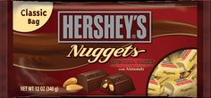 HERSHEY'S NUGGETS SPECIAL DARK Chocolate with Almonds mild mildly sweet chocolate and almond treasures. View nutrition facts, ingredients and more