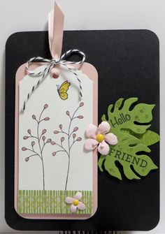 Stampin' Up Flowering Fields Botanicals Tag Card created by Lynn Gauthier using Flowering Fields, Botanical Blooms, Bloomin' Love, Rose Wonder and Talented Trio Stamp Sets and Botanical Builder Framelits. Go to http://lynnslocker.blogspot.com/2016/01/stampin-up-flowering-fields-botanicals_18.html to see how this card was made.