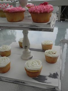 DIY: Distressed CupCake Stand. I need to make this for my wedding