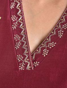 Red Embroidered Chanderi Kurta with Voile Lining Salwar Neck Designs, Churidar Designs, Kurta Neck Design, Neck Designs For Suits, Kurta Designs Women, Dress Neck Designs, Blouse Designs, Embroidery On Kurtis, Hand Embroidery Dress