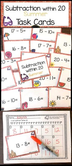 Subtraction from 20 | Math Center | Task Cards | Scoot Game | Count the Room | Kindergarten | first grade | Summer Theme