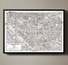 Paris France 12th Arrondissement Map - Reuilly map Print : Vintage Paris Arrondissement Map - Reuilly map print poster 1950s. Similar to Restoration Hardware maps but not affiliated with or printed by Restoration Hardware
