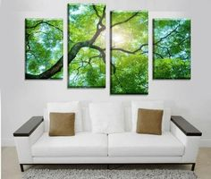 4 Pieces Multi Panel Modern Home Decor Framed Tree Scenery Landscape Wall Canvas Art