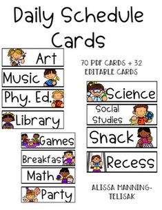 Included are 69 pre-made schedule cards that can be used in a pocket chart. Also included are day of the week headers and 32 editable slides, so that you can customize your schedule cards. (I used the font AG Show Your Dang Work). Schedule cards are a powerful classroom management tool! Daily Schedule Cards, School Schedule, Math Workshop, Writer Workshop, Picture Schedules, Recess Games, Subject Labels, Star Students, Library Science