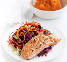 Ginger-baked salmon & red cabbage slaw  - Healthy Food Guide