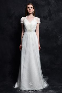 queen anne neck short lace sleeves classic a-line chapel train bridal gown