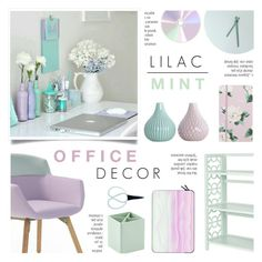 """Lilac & Mint Office Decor"" by c-silla ❤ liked on Polyvore featuring interior, interiors, interior design, home, home decor, interior decorating, Artifort, Menu, Casetify and Bigso"
