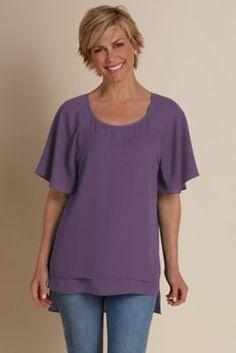 Flutter Sleeve Top I - Women's Flutter Sleeve Top | Soft Surroundings