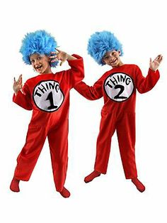 Thing 1 and 2 costumes from the Catch My Party Store! #costume #drseuss