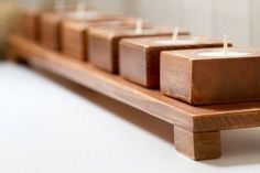 The rustic elegance of this wooden candle holder is perfection.