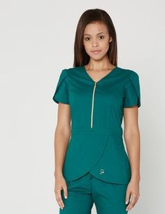 The Tulip Top in Hunter Green is a contemporary addition to women's medical scrub outfits. Shop Jaanuu for scrubs, lab coats and other medical apparel. Scrubs Outfit, Scrubs Uniform, Spa Uniform, Scrub Skirts, Jaanuu Scrubs, Green Scrubs, Medical Uniforms, Womens Scrubs, Medical Scrubs