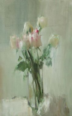 STILL LIFE ROSES, BY VITOLD SMUKROVICH - love how the flowers and vase blend with the background...