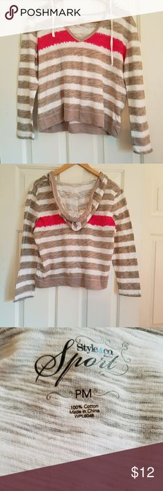 Style & Co Sport Top Fun and flirty top with hoodie. Size PM. 100% cotton. Smoke and pet free home. Style & Co Tops