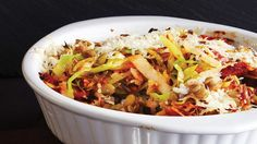 Parmesan-Crusted Winter Cabbage Pilaf. Serve our seasonal, veggie-packed Clean Eating recipe for rice and lentil pilaf family-style, or pack it into personal ramekins so everyone can dig into their very own oven-baked dish.