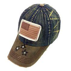 e2f147721d5 Subdue USA Flag Dark Denim Distressed Vintage Cap Distressed Baseball Cap