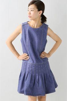 SUNO/スノ SHORT SLEEVE デニムプリーツドレス