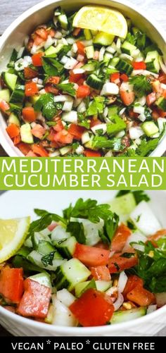 This Mediterranean cucumber salad is refreshing and light made with cucumber, tomato, parsley, and mint. Vegan, gluten-f Mediterranean Cucumber Salad, Mediterranean Diet Recipes, Cucumber Mint Salad, Whole Food Recipes, Vegetarian Recipes, Healthy Recipes, Free Recipes, Easy Salads, Summer Salads