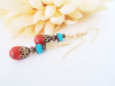 Turquoise Earrings, Southwestern Jewelry, Wabi Sabi Jewelry, Red Coral Earrings, Christmas Gifts for Friends, December Birthstone Jewelry by chicagolandia on Etsy https://www.etsy.com/listing/529470605/turquoise-earrings-southwestern-jewelry