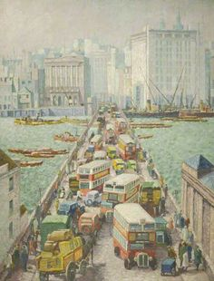 Chaos on London Bridge by Harold Workman (British 1897-1975)