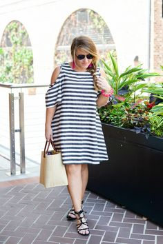 Summer transition outfit - click through to see more of this look featuring summery statement jewelry! | striped dress | cold shoulder dress outfit | casual outfit idea | easy summer outfit | summer outfit idea | spring outfit idea | accent jewelry