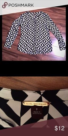 Black & white Geometric blouse Dana Buchman, sz 2 Black and white sheet long sleeve blouse, size 2.  No rips, stains or tears.  Dana Buchman from Kohls.  Great for the career woman! Dana Buchman Tops Blouses