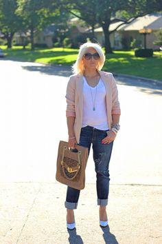 Pink Blazer and Distressed Boyfriend Jeans