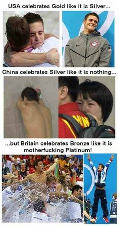 Best celebration of the Olympics . USA (David Boudia) celebrates gold like it is silver, China (Qiu Bo) celebrates silver like it is nothing, but Britain (Tom Daley) celebrates bronze like it is platinum. (Excuse the language) British Humor, Memes Br, Have A Laugh, Funny Pins, Funny Stuff, Random Stuff, Really Funny, I Laughed, Laughter