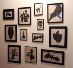 Had a free day today, so I filled it with an art project.  I've always wanted a wall of black framed pictures with Halloween silhouettes.  So I dug out a bunch of old frames, painted them flat black; printed, cut and painted the silhouettes; and used old book pages as the backgrounds.  It came out exactly as I hoped!