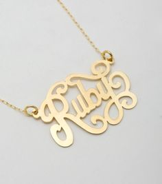 kaya catbird :: shop by category :: JEWELRY :: Necklaces :: Custom Vermeil Nameplate Jewelery, Jewelry Necklaces, Custom Name Necklace, Ruby Necklace, Nameplate Necklace, Jewelry Design, Unique Jewelry, Just In Case, Bag Accessories