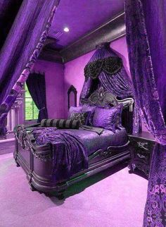 17 Purple Bedroom Ideas that Beautify Your Bedroom's Look - Decor - Furniture - Gadgets - Home - Interior Design - Inventory - Rooms - Tableware - Bedding Master Bedroom Purple Furniture, Gothic Furniture, Medieval Furniture, Funky Furniture, Classic Furniture, Furniture Ideas, Purple Bedroom Design, Royal Purple Bedrooms, Royal Bedroom