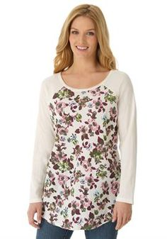 #WOMANWITHIN  Plus Size Floral print knit T-shirt with long raglan sleeves