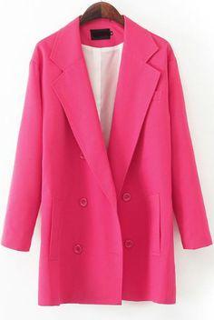 Red Notch Lapel Long Sleeve Pockets Blazer - Sheinside.com