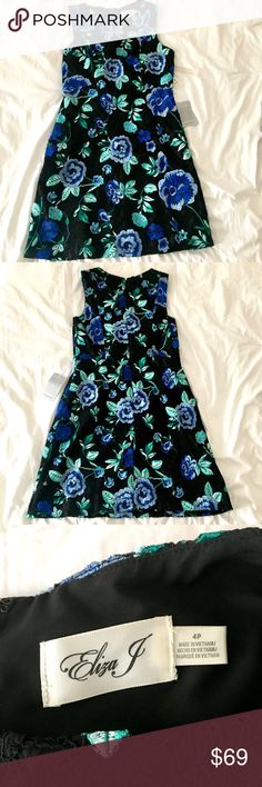 "NWT Eliza J Black Lace Embroidered Dress Nordstrom Beautiful NWT Eliza J dress! Black lace overlay with embroidered flowers of blue and green that pop out in color. Size 4P. The attached tag is mislabeled as a size 10 but the dress is definitely a 4P (see measurements below and photos). Perfect for weddings and showers! With its black and rich colors it's a great transition dress into early fall, too!  Measurements are: Bust - 16"" Waist - 14.5"" Hips - 19.5"" Length - 33.5"" Eliza J Dresses"