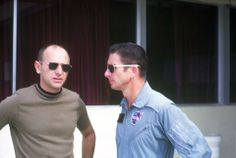 Astronauts Alan Bean and Jim Irwin (right) at Melbourne, Florida airport on July 13, 1969 prior to Apollo 11 launch.