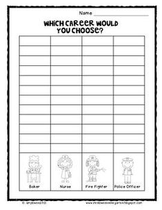 Community Helpers Bubble Map Pieces and Graphing FREEBIE