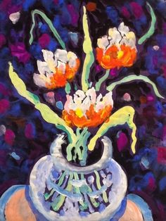 Flowers, table and vase by James Paul Brown on mobiART Paul Brown, Paintings, Vase, Flowers, Paint, Painting Art, Painting, Vases, Painted Canvas