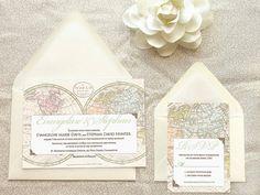 Old World Map Travel Wedding Invitations - Destination Wedding - World Map…