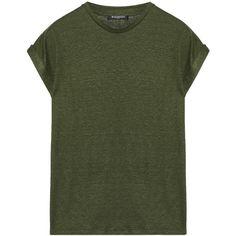 Balmain Slub linen-blend T-shirt (8.400 ARS) ❤ liked on Polyvore featuring tops, t-shirts, balmain tee, green t shirt, green tee, relax t shirt and balmain t shirt