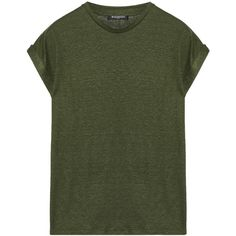 Balmain Slub linen-blend T-shirt featuring polyvore, women's fashion, clothing, tops, t-shirts, army green, balmain top, green tee, green top, army green t shirt and olive green t shirt