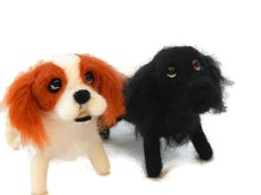 TWO personalised needle felted dogs   needle felted original